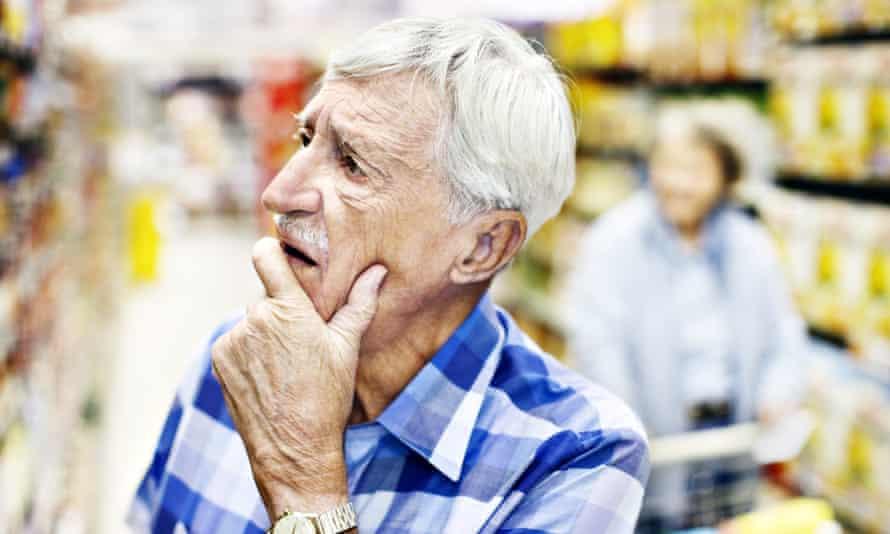 Senior man considers his choice