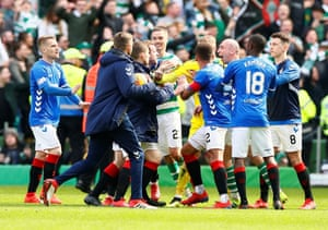Players clash after the final whistle.