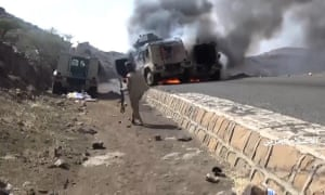 An unverified video purports to show Saudi military vehicles ablaze in the southern region of Najran