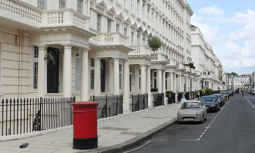 Luxury residential properties on Eaton Place, Belgravia, in London, one of the most expensive quarters of the British capital.