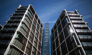 A new luxury penthouse development at One Hyde Park reflects the sunshine in Knightsbridge in London, England.