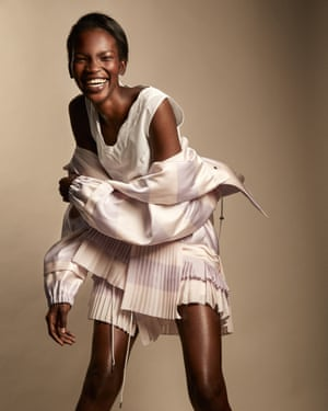 Model Aamito Lagum wearing Christian Dior clothes