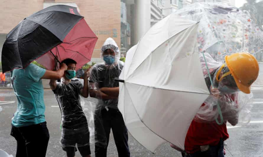 Protesters gather outside Hong Kong's Eastern Courts on Wednesday.