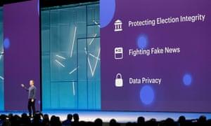Mark Zuckerberg discusses data privacy at a keynote speech.