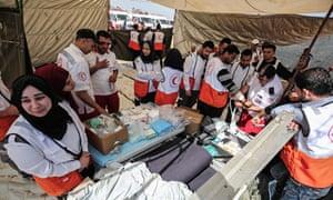 Palestinian paramedics set up ahead of protests on the Israel-Gaza border near Khan Yunis.