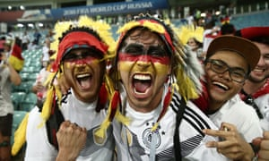Germany fans celebrate their team's late win.