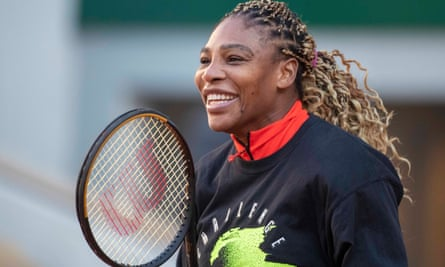 Serena Williams warms up for the French Open at Roland Garros