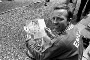 Nobby Stiles gets a chance to see his new baby – albeit in the newspaper – while away training with the rest of the England squad