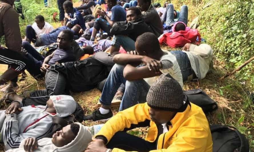 Refugees hide in the woods before attempting to cross the French-Italian border near Ventimiglia.