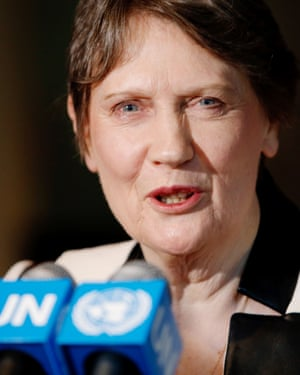 Former New Zealand Prime Minister Helen Clark speaks after a meeting as a candidate for United Nations (UN) secretary-general on April 14, 2016 in New York City