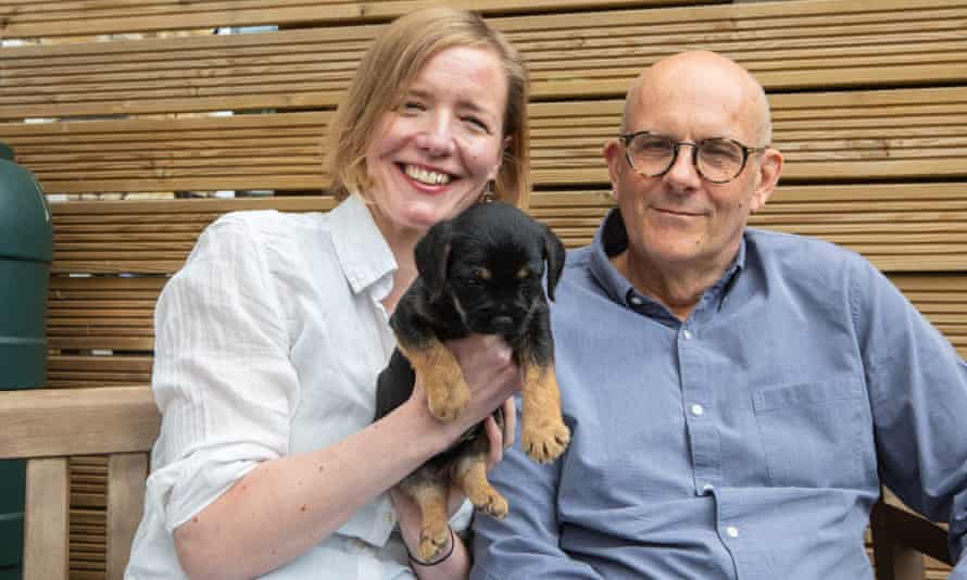 Emily Harding and Peter Beaumont with their new puppy Bodhi.