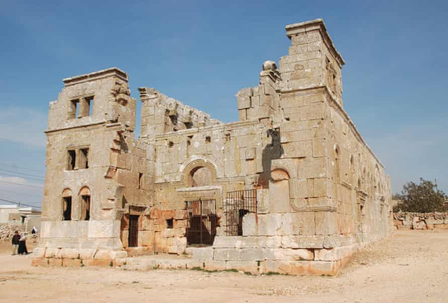 Twin towers flanking a monumental arched entrance … the remains of Qalb Lozeh church in Syria, the inspiration behind Notre-Dame.