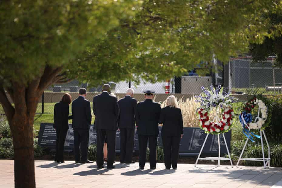 Joe Biden, Kamala Harris, Lloyd Austin and others attend a wreath-laying ceremony at the National 9/11 Pentagon Memorial.