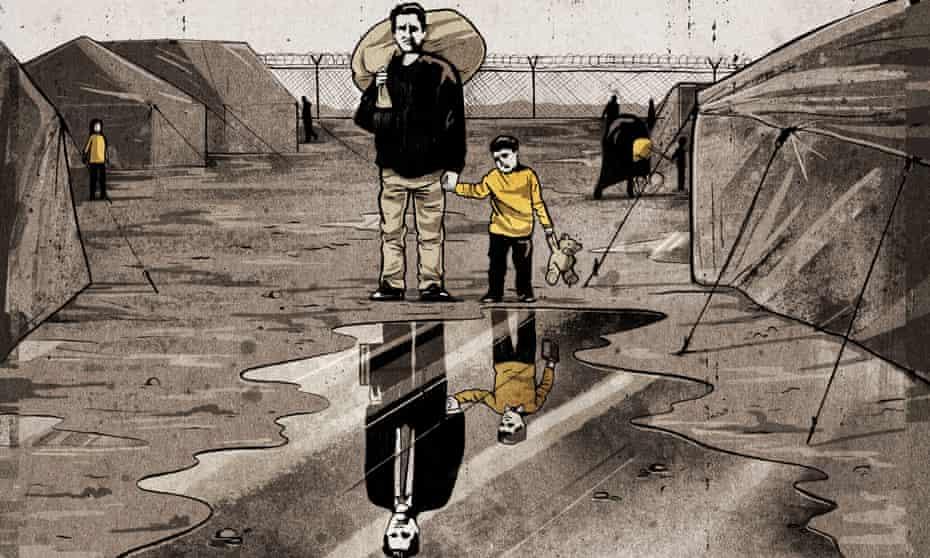 Illustration of refugee camp by Ben Jennings.