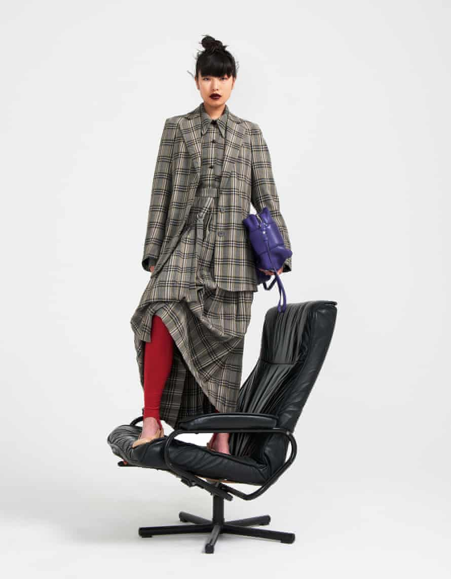 Styling: Melanie Wilkinson. Hair: Shukeel Murtaza using Bumble and bumble. Makeup: Alexis Day using Pat McGrath Labs. Model: Jiahe Zhang. All clothes and bag: Joseph