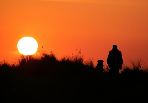 A man and his dog watch the sunrise at Holme-next-the-Sea in Norfolk. Photograph: Paul Marriott/Shutterstock