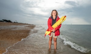 RNLI lifeguard supervisor Liv Paton on duty at Southsea beach in Hampshire.