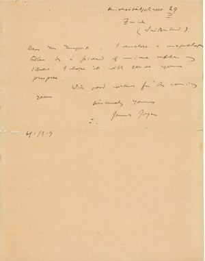 James Joyce's letter to a well-wisher.
