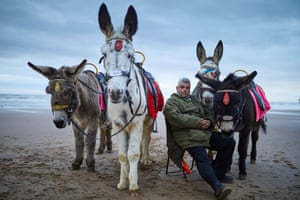 Donkey ride owner Peter Gallagher on one of 17 rotating pitches on Blackpool beach