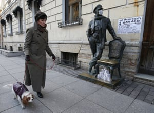 St Petersburg, Russia. A statue of Ostap Bender, a fictional conman
