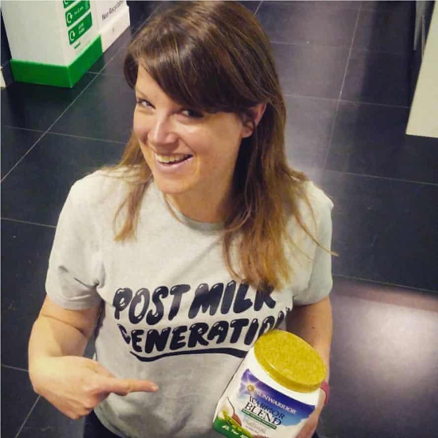 Felicity in a vegan T-shirt.