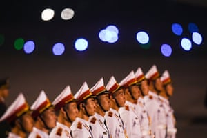 Vietnamese soldiers stand in formation
