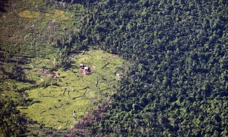 """FILE - This Sept.16, 2015 aerial file photo shows land cleared by """"settlers"""" who Miskito indigenous leaders accuse of seizing by force lands long considered communal property and clear-cutting tropical forest for cattle ranching in Murubila, Nicaragua. Nicaragua's government has not only failed to enforce laws that protect its indigenous peoples and their communal lands, but is actively promoting illegal land grabs and granting concessions to mining and timber companies, according to a report released Wednesday, April 29, 2020. (AP Photo/Esteban Felix, File)"""