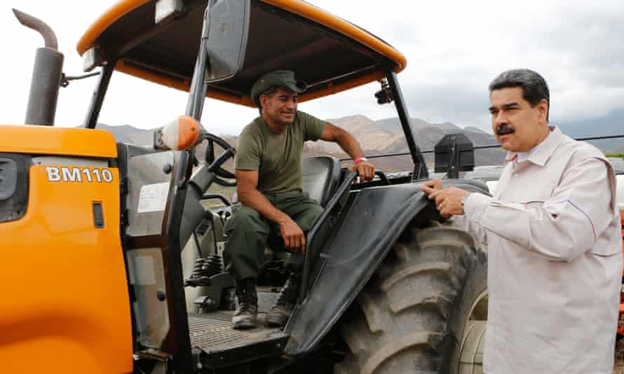 Nicolás Maduro visits a farm in Aragua state in a photo released on Wednesday.