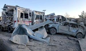 Damaged cars are seen at the site of a suicide attack in Zabul, Afghanistan, on Thursday.