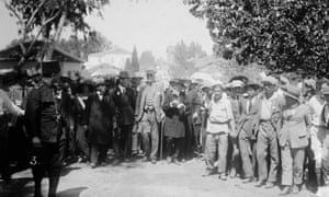 Arthur Balfour visiting Jewish colonies in Palestine in 1925.