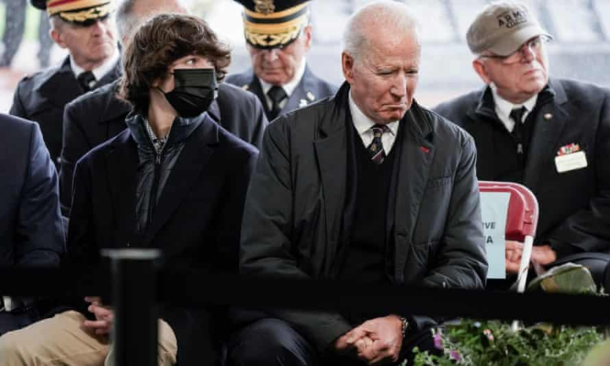 Joe Biden and his grandson Hunter Biden attend an annual Memorial Day Service at Veterans Memorial Park in Wilmington, Delaware.