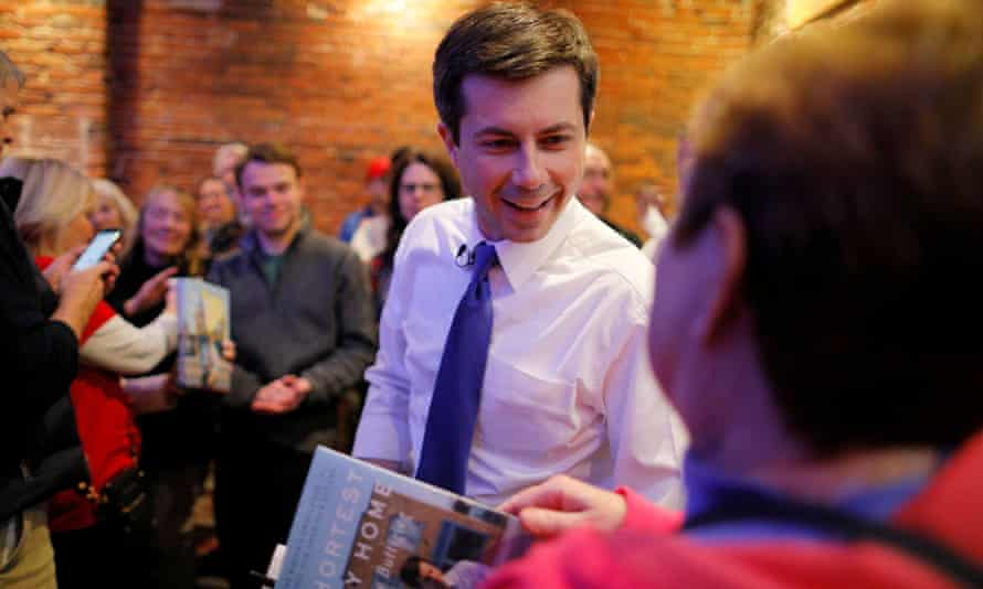 Pete Buttigieg greets voters at Portsmouth Gas Light in Portsmouth, New Hampshire.