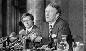 Former Prime Minister Malcolm Fraser holds a news conference at Australia House in London, February 1980.