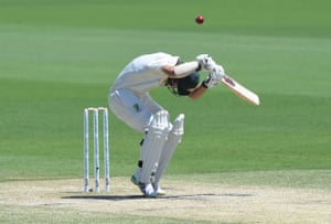 Travis Head balletically avoiding a bouncer from Sri Lanka's paceman Kasun Rajitha during day three of the second Test cricket match between Australia and Sri Lanka at the Manuka Oval Cricket Ground in Canberra.