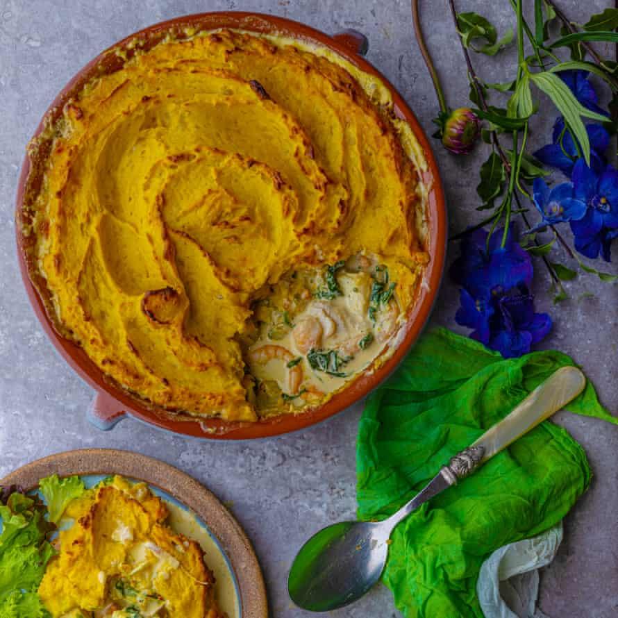 Saffron fish pie by Ravinder Bhogal.