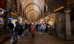 People wearing face masks in the Grand Bazaar in Istanbul last week. The death toll in Turkey has hit a fresh record for seven consecutive days.
