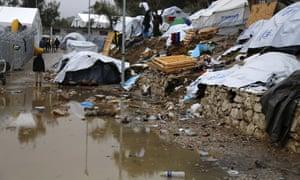 Rubbish at the camp in Moria.