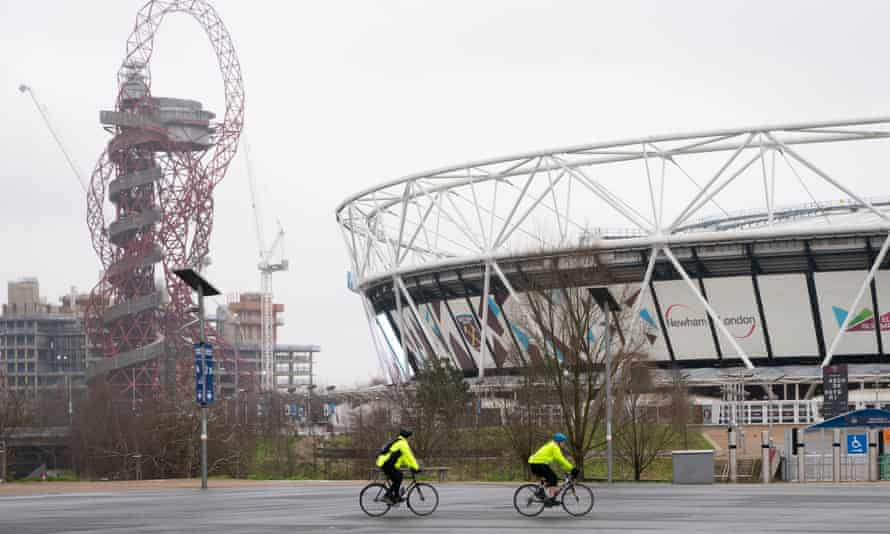 Cyclists ride through Olympic Park, east London. Johnson went cycling in the park on Sunday, seven miles from his Downing Street home.