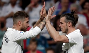 Gareth Bale and Sergio Ramos celebrate a goal for Real Madrid
