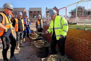 Great Oldbury, England Boris Johnson visits a Barratt Homes development to launch the government's mortgage guarantee scheme
