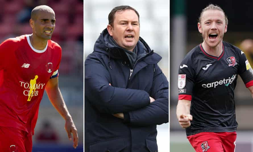 Leyton Orient's Darren Pratley, Bradford's manager Derek Adams and Exeter's talisman Matt Jay