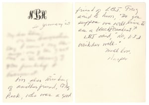 Harper Lee's letter to Felice Itzkoff on January 20, 2009, Barack Obama's inauguration day.