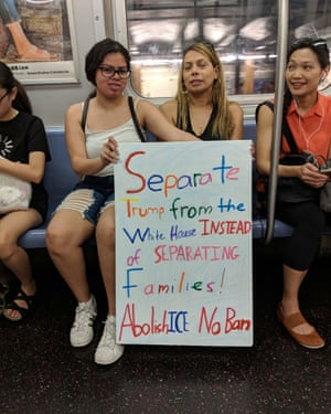 Kelly Charris, 16, and her mother Kathryn, on a New York City subway on June 30, 2018.