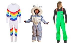Composite image of Ooscrainbow baselayer; Dinoskianimal-inspired kid's ski suit; and Picture Organic Clothing's Harvest Bib snowpants