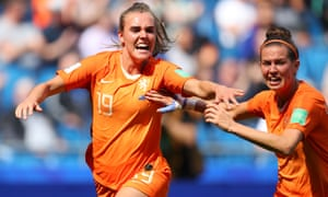 Jill Roord of the Netherlands celebrates after scoring the winning goal.