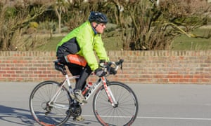Middle-aged man cycling
