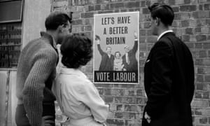 A Labour party election poster from 1959 depicting leader Hugh Gaitskell with Barbara Castle and Aneurin Bevan