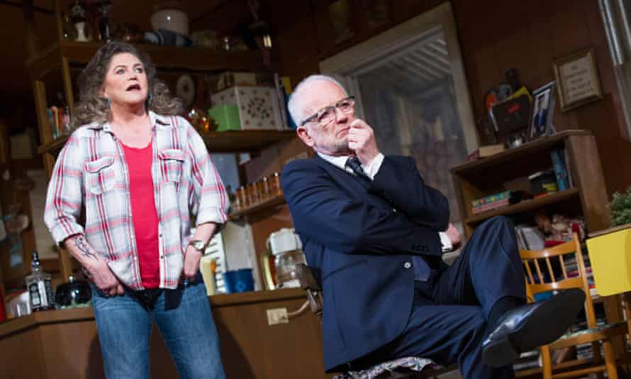 Turner onstage with Ian McDiarmid in Bakersfield Mist by Stephen Sachs in the West End in 2014.
