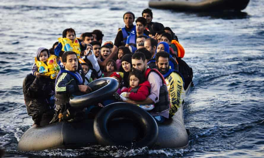 Migrants and refugees arrive on Lesbos