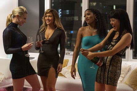Lili Reinhart, Jennifer Lopez, Keke Palmer and Constance Wu in Hustlers.